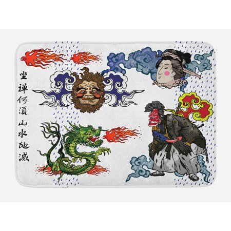 Dragon Bath Mat, Japanese Manga Figures Dragon with Fire a Man with Kimono Geisha Tribal Characters, Non-Slip Plush Mat Bathroom Kitchen Laundry Room Decor, 29.5 X 17.5 Inches, Green Blue, Ambesonne