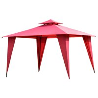 Gymax 11'x11' 2-Tier Gazebo Canopy Shelter Patio Party Tent Burgundy
