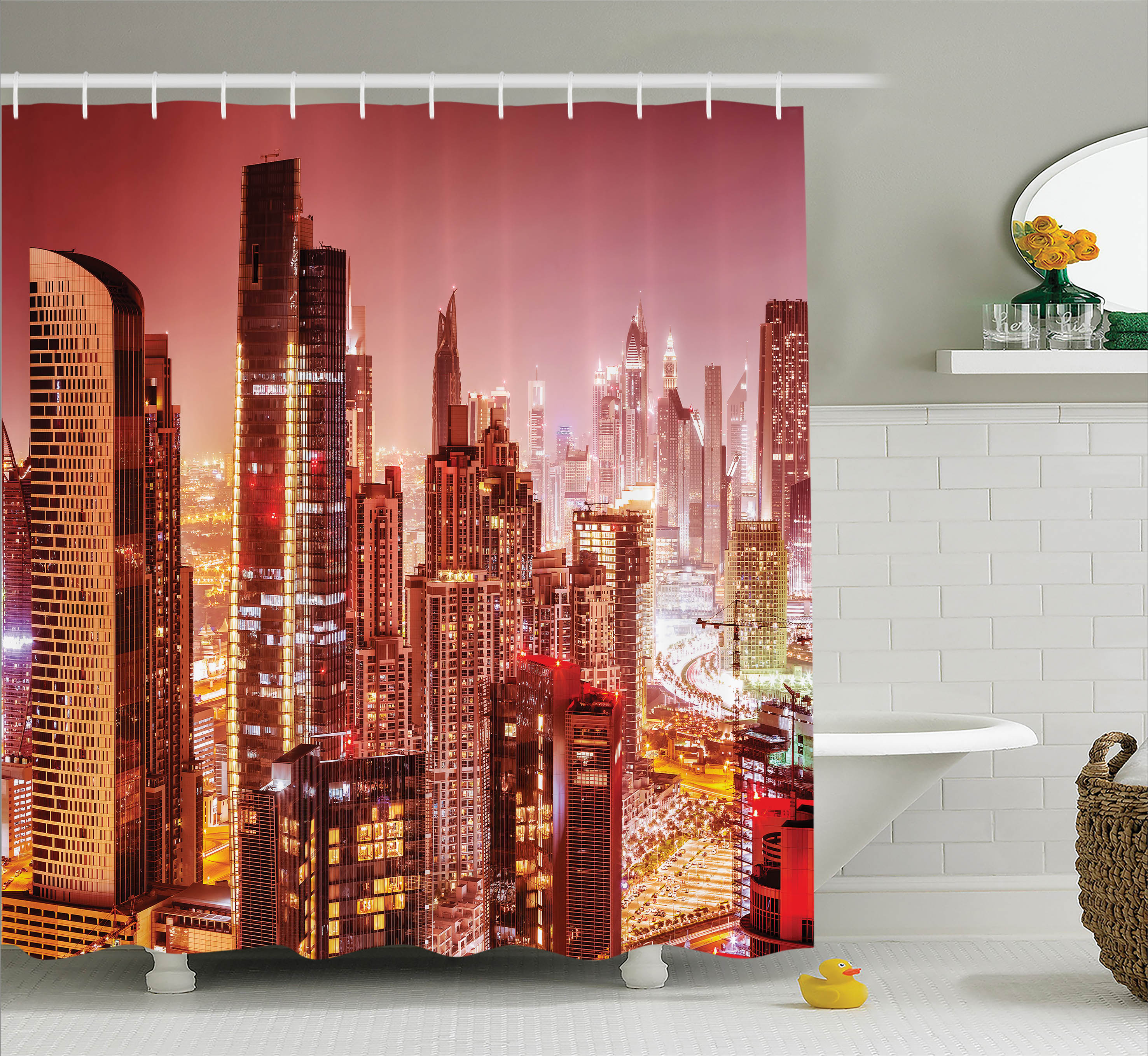 Apartment Decor Shower Curtain, Dubai at Night Cityscape with Lights of Tall Skyscrapers Panorama Print, Fabric Bathroom Set with Hooks, 69W X 84L Inches Extra Long, Pink Gold, by Ambesonne