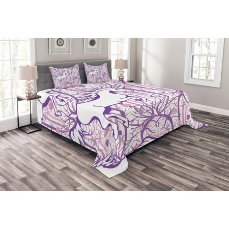 Unicorn Bedspread Set, Unicorn Galloping on Curved Swirled Tree Branches in Abstract Forest Pattern Art Print, Decorative Quilted Coverlet Set with Pillow Shams Included, Purple, by Ambesonne - Unicorn In Forest