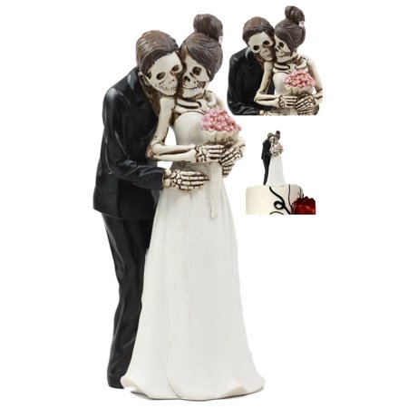 Ebros Day Of The Dead DOD Skeleton Bride And Groom Posing For Wedding Photo Cake Topper Figurine Love Never Dies Wedding Ceremony Skeleton Lovers Decor