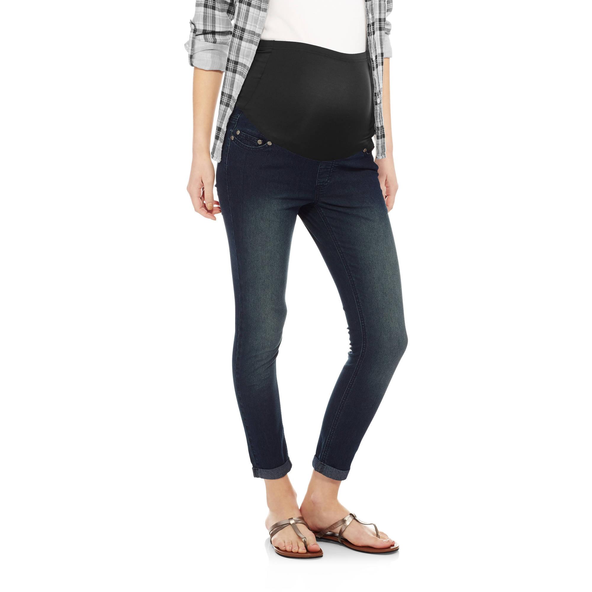 Oh Mamma Maternity Full Panel Super Soft Cuffed Skinny Boyfriend Crop Jeans