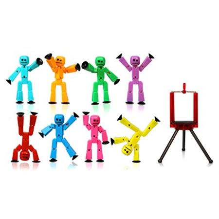 Zing Stikbot 8 Solid Pink/Yellow/Light Blue/Green/Dark Blue/Purple/Orange/Red Color and Red Tripod