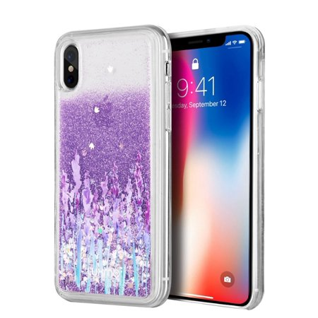 Insten Waterfall Liquid Love & Lavender TPU Rubber Candy Skin Case Cover For Apple iPhone X XS, Purple