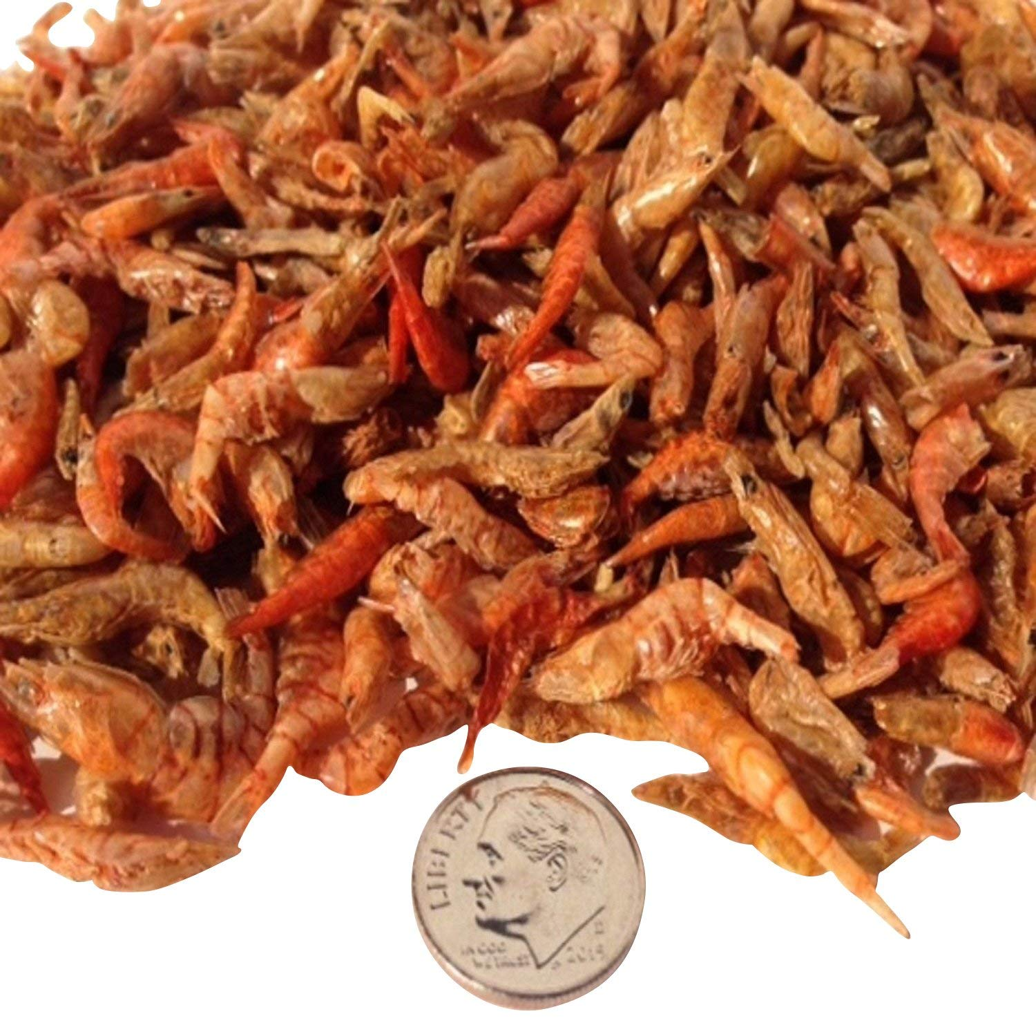 "Aquatic Foods Freeze Dried Red Shrimp 1/2"" to 1&1/4"" for Koi, ALL Turtles, AlL Tropical Fish - 1/8-lb"