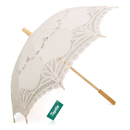 TopTie Lace Umbrella Battenburg Lace Wedding Parasol Bridal Photograph Great For Decoration - White Lace Parasol