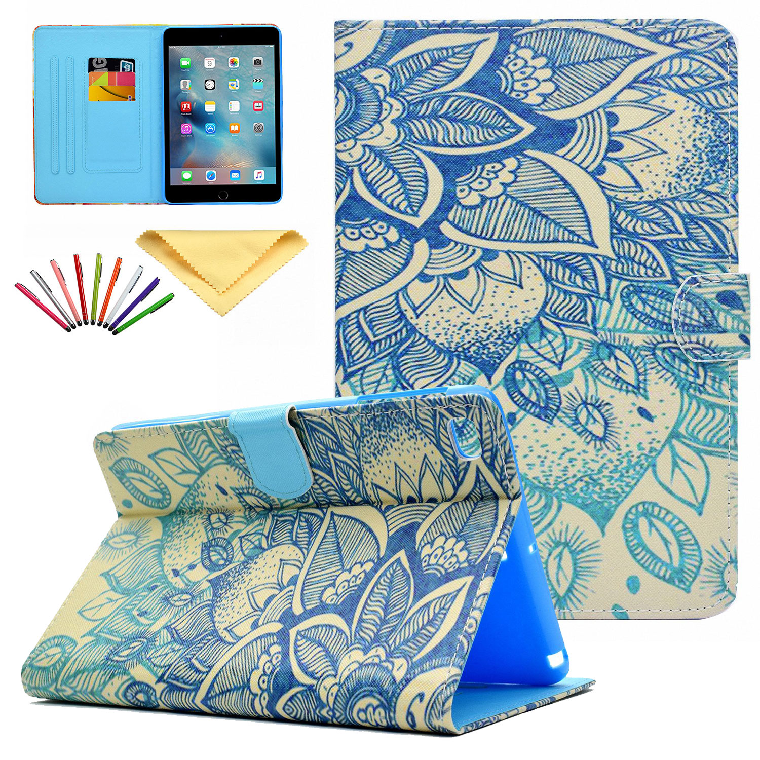 iPad Mini Case, iPad Mini 1 2 3 4 Case, Allytech PU Leather Flip Wallet Case with Auto Sleep/Wake Feature Smart Folio Stand Cover for Apple iPad Mini 1/ Mini 2/ Mini 3/ Mini 4, Blue Flower