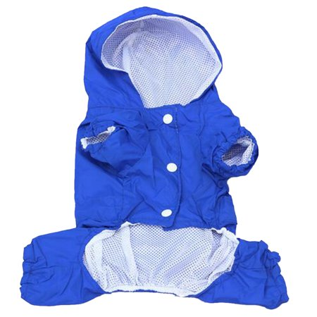 Dog Raincoat Pet PU Double Layers Waterproof Clothes with Reflective Strips Quick Drying blue