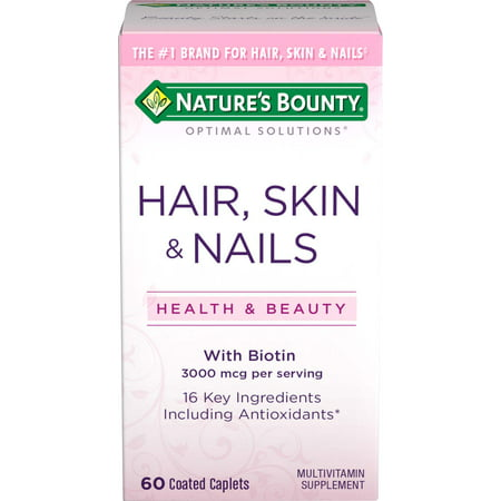 Nature's Bounty Optimal Solutions Hair, Skin and Nails Multivitamin Supplement Coated Caplets, 60