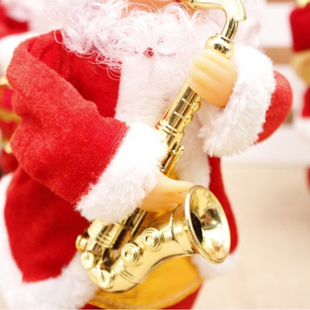 Christmas Dolls, 2018 New Christmas Electric Vintage Animated Saxophone Dancing Music Santa Claus Doll Christmas Decorations for Home Xmas Gift for Kids ()