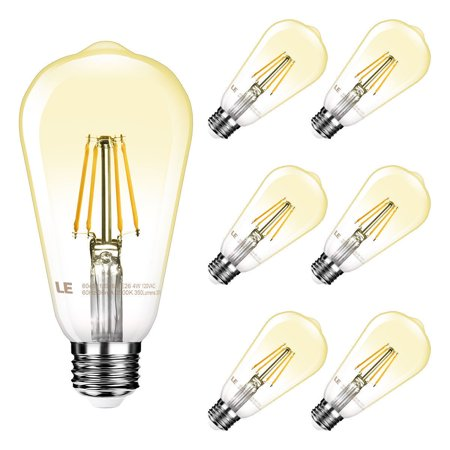 Lighting EVER 4W 350lm ST64 E26 Vintage Edison LED Bulbs, 2500K Warm White Dimmable LED Light Bulbs, 40W Incandescent Equivalent, Pack of