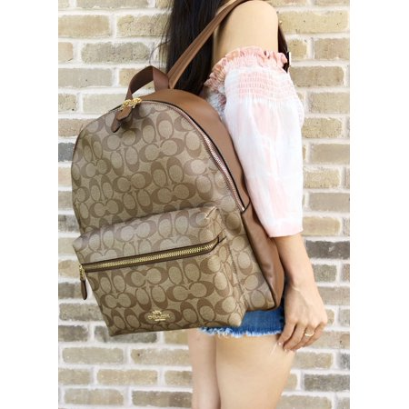 Coach F38301 F58314 Charlie Signature Large Backpack School Bag Khaki Saddle