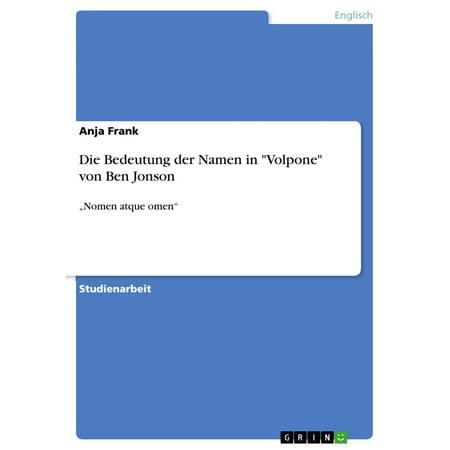 Die Bedeutung der Namen in 'Volpone' von Ben Jonson -