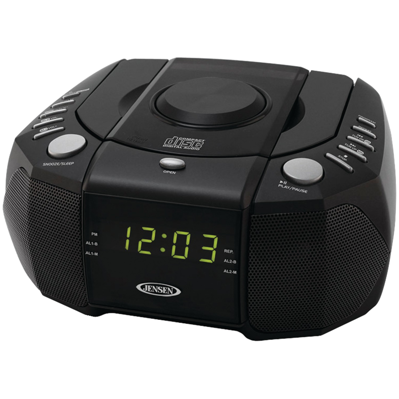 JENSEN JCR-310 Dual Alarm Clock AM/FM Stereo Radio with Top-Loading CD Player