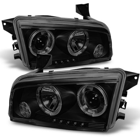 - Fits 06-10 Dodge Charger Black Smoke Dual Halo Projector LED Headlights Lamp Set