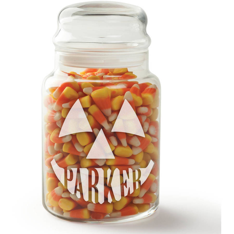 Jack-O-Lantern Personalized Glass Treat Jar