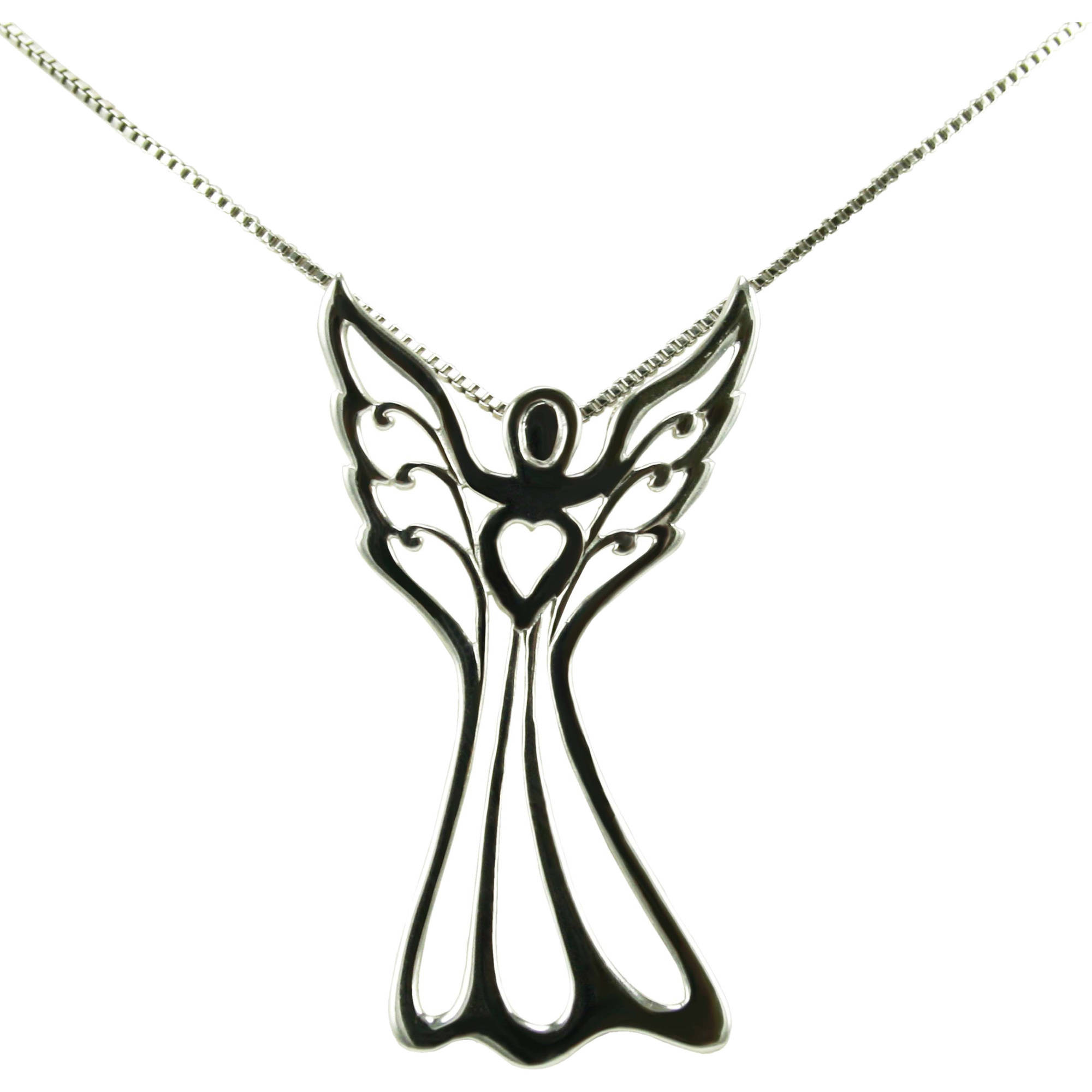 Lavaggi Sterling Silver Angel of Love Pendant, 18""