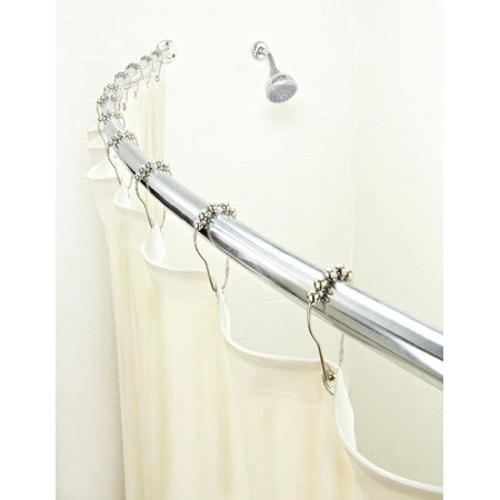 Bath Bliss Curved Shower Rod, Satin Nickel Finish Crescent Rod Curved Shower Rod