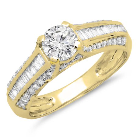 Dazzlingrock Collection 1.20 Carat (ctw) 14K Diamond Solitaire With Accents Engagement Ring 1 1/4 CT, Yellow Gold, Size 5 1/2 Ct Ctw Diamond Solitaire