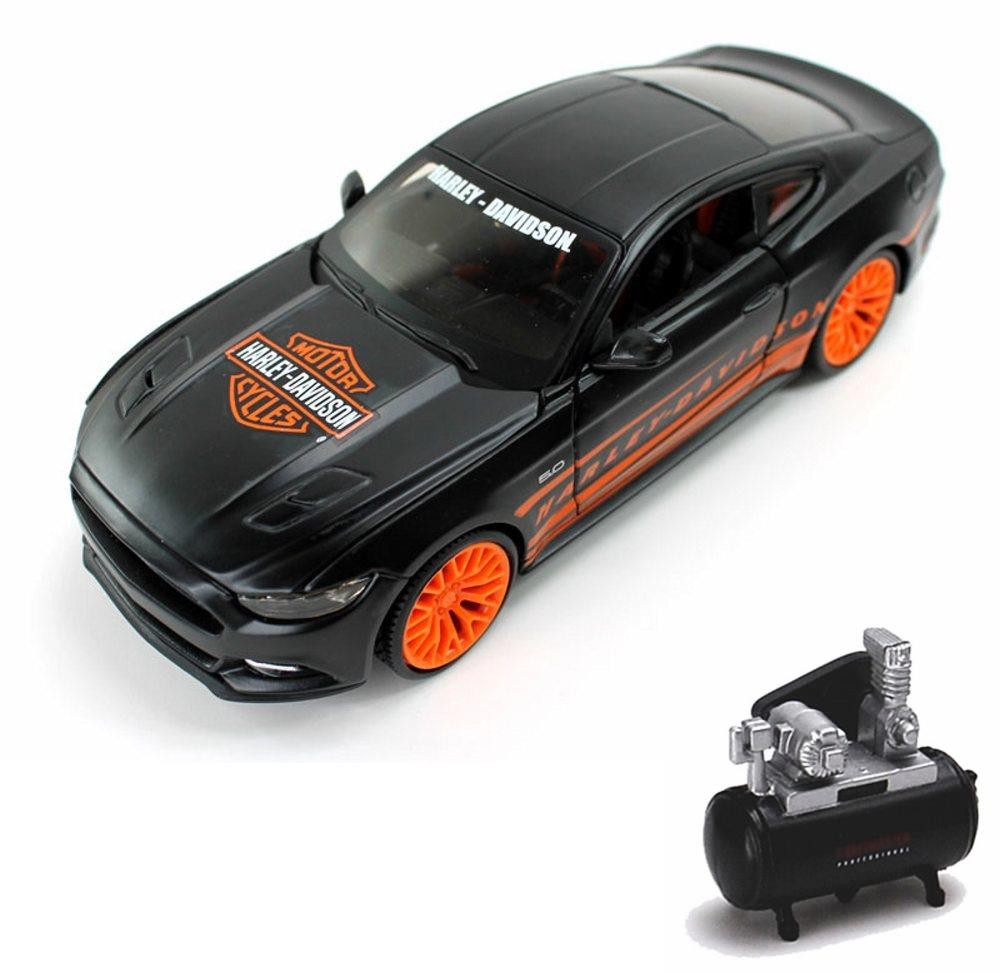 Diecast car air compressor package ford mustang gt orange black maisto hd custom 32188bk 1 24 scale diecast model car w air compressor walmart