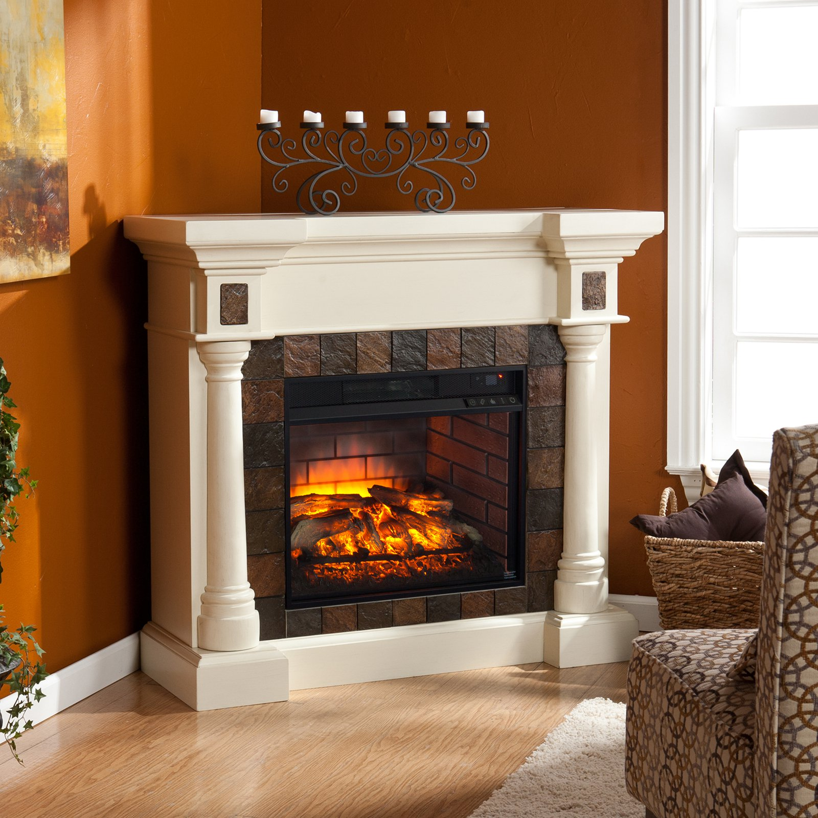 Southern Enterprises Carrington Convertible Infrared Electric Fireplace