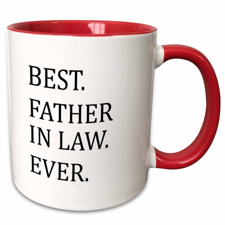 3dRose Best Father in Law Ever - Fun humorous Gifts for the Inlaws - family humor - black text - Two Tone Red Mug, (Best Gift For My Father In Law)