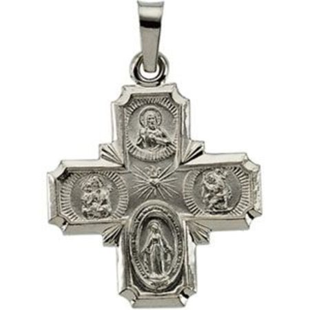 4 Way Pendant (18x18mm Four Way Cross Medal Pendant in 14k White Gold )