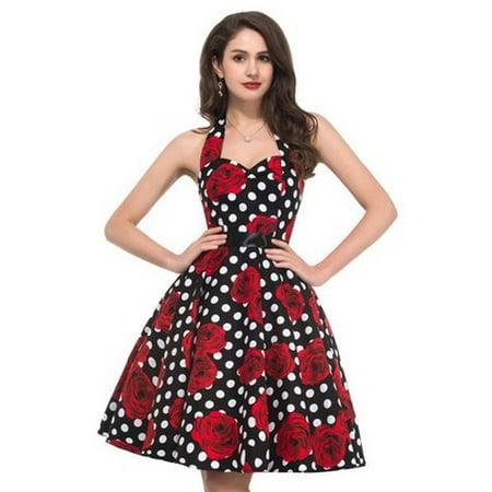 Women Print Floral Lace Patchwork Polka Dot vintage Summer Dress