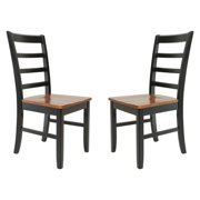 TTP Furnish Solid Wood Sturdy Dining Chair / Modern Kitchen Chair Black And Saddle Brown Set of 2
