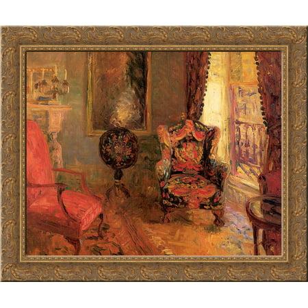 Twenty-Three Fifth Avenue, Interior 24x20 Gold Ornate Wood Framed Canvas Art by William James Glackens