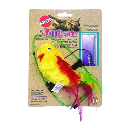 A-door-able Bouncing Feather Bird Cat Toy