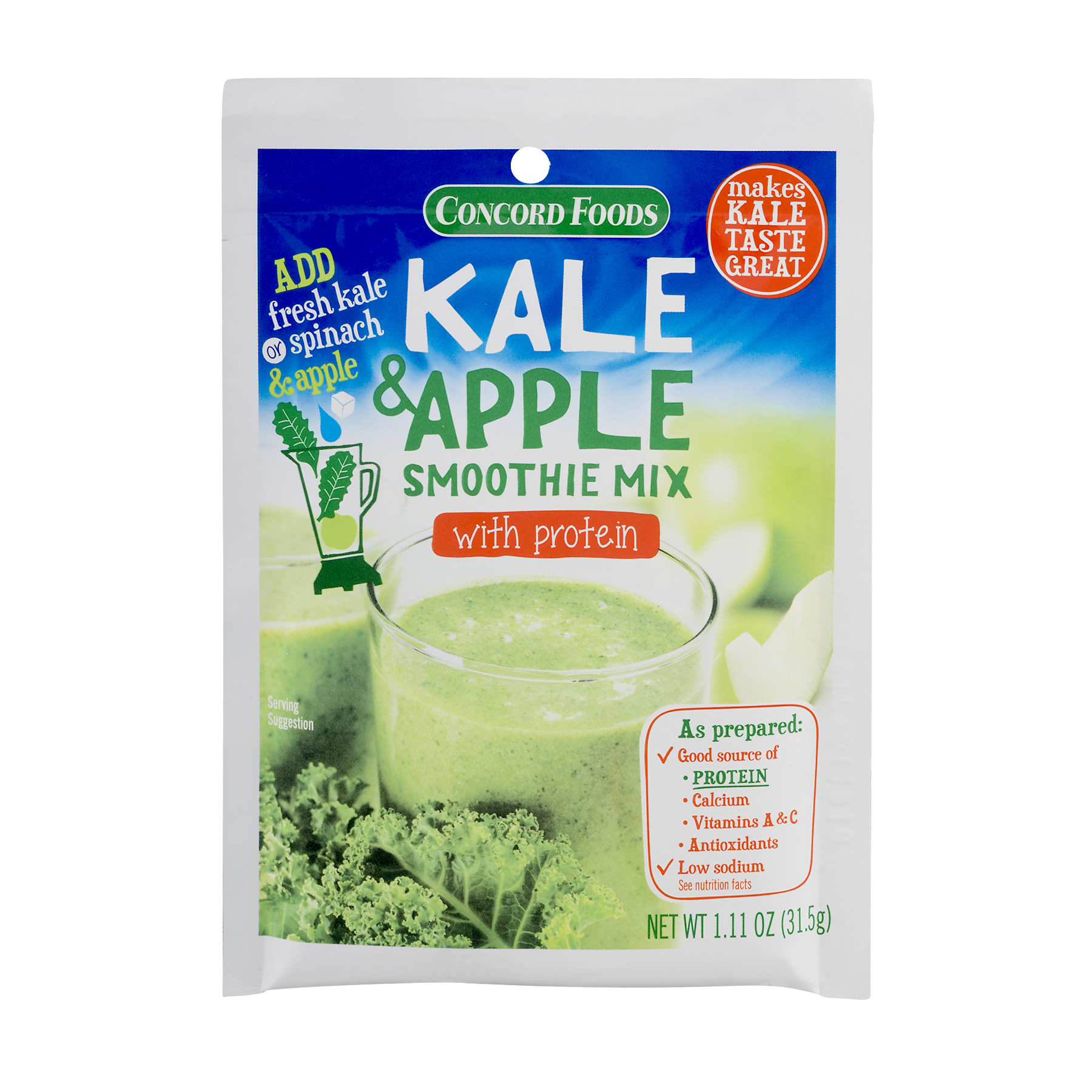Concord Foods Kale & Apple Smoothie Mix With Protein, 1.11 OZ