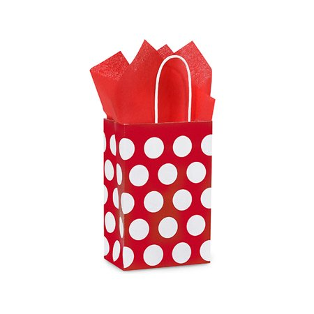 Rose Red Polka Dots Paper Bags 250 Pack