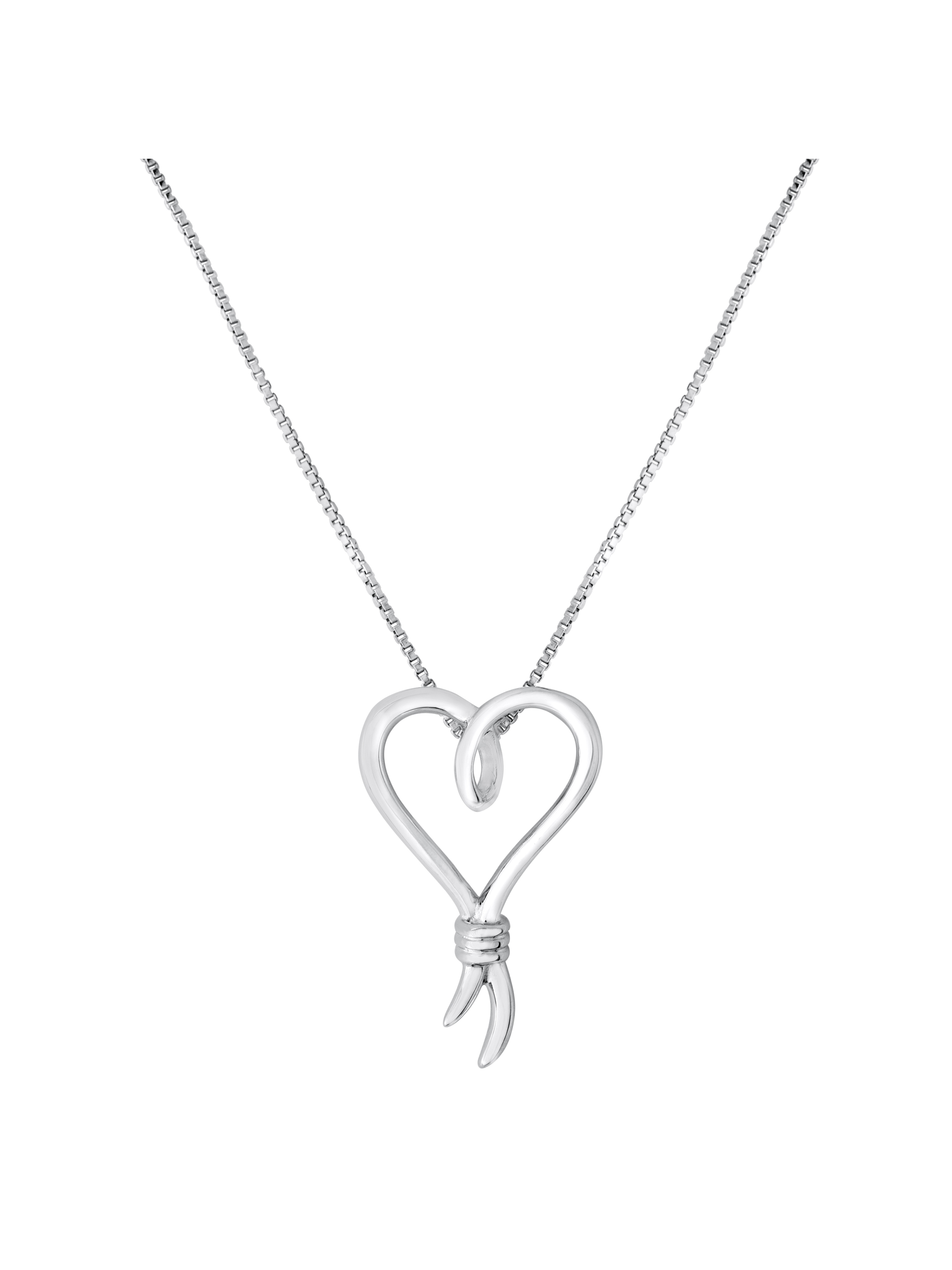 """Knots of Love Sterling Silver Pendant, 18"""""""
