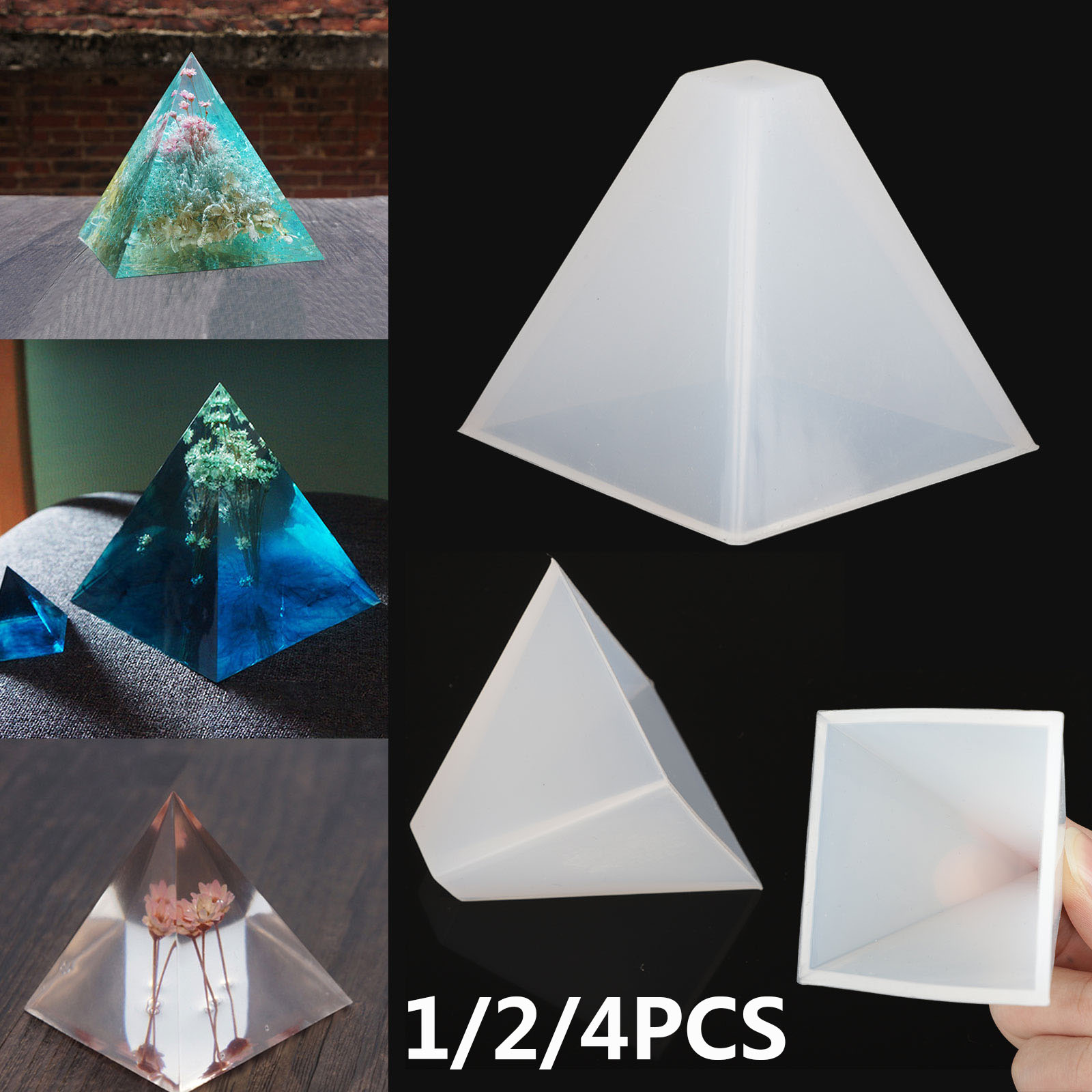 Silicone Mini Pyramid Jewelry Making Mould Mold for DIY Necklace Earrings