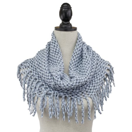 StylesILove Womens Winter Warm Solid Mini Tube Infinity Scarf With Fringe (One Size Fits All, Light Blue)