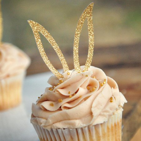 Bunny Ear Cupcake Toppers 12CT. Bunny Cupcake Decorations. Easter Cupcake Picks.