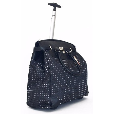 TrendyFlyer Computer Laptop Rolling Bag 2 Wheel Case Polka Dots