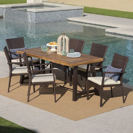 Landon Outdoor 7 Piece Dining Set with Teak Finished Wood Table and Brown Wicker Dining Chairs with Crème Water Resistant Cushions