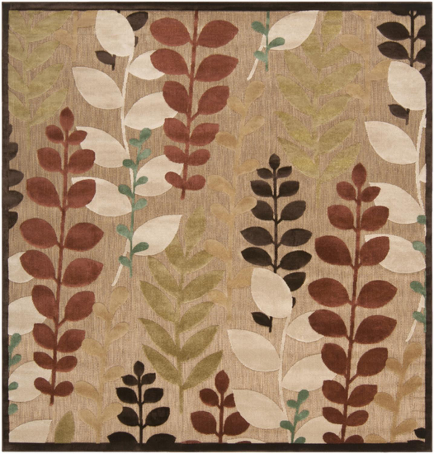 7.5' x 7.5' Divine Pienza Rust Red and Ivory Square Outdoor Area Throw Rug