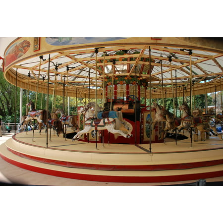 Canvas Print Merry-go-Round Amusement Ride Carousel Horses Fun Stretched Canvas 10 x 14](Carousel Horses For Sale)