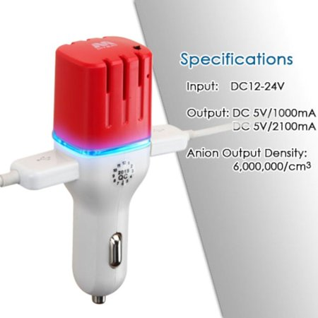 Insten LED Dual Port USB Car Charger Adapter 3.1A with Anion Air Purifier For iPhone 6 6S Plus SE 5S iPad Air Mini Pro iPod Samsung Galaxy HTC LG Huawei ZTE Smartphone Cell phone Tab Tablet(White/Red) - image 1 de 7
