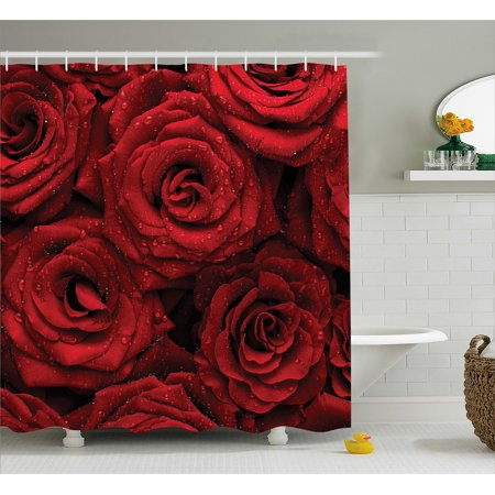 Red And Black Shower Curtain Romantic Eternal Symbol Of Love Roses With Rain Drops On Petals Photo Print Fabric Bathroom Set Hooks