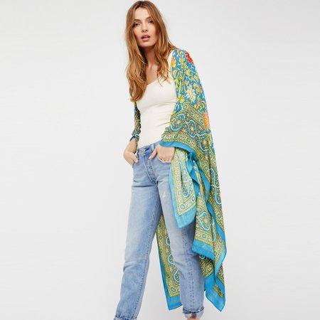 3c5883ff2 Vintage Women Chiffon Kimono Cardigan Ethnic Boho Print Loose Long  Outerwear Beachwear Bikini Cover Up Rose