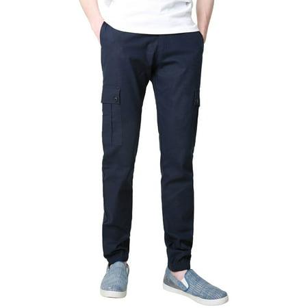 Unique Bargains Men's Mid-Rise Drawstring Zip Fly Side Pockets Straight Leg Cargo Pants 5 Pocket Drawstring Cargo