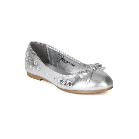 Little Angel BH80 Metallic Leatherette Floral Perforated Bow Tie Ballerina Flat (Toddler/ Little Girl/ Big Girl)](Girls Silver Flats)
