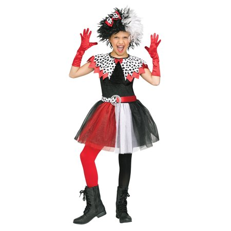 Dalmatian Diva Child Cruella De Vil Villain Halloween Costume-L](Batman Characters And Villains Costumes)