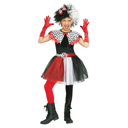 Dalmatian Diva Child Cruella De Vil Villain Halloween Costume-L