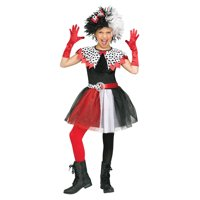 Dalmatian Diva Child Cruella De Vil Villain Halloween Costume-L