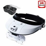 Magnifying Glass Lens LED Light Visor Head Loupe Jeweler Craft Hobby Magnifier 2